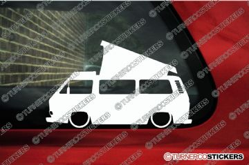 2x Low car outline stickers - for Volkswagen VW T25 / T3 Westfalia camper bus, classic Transporter